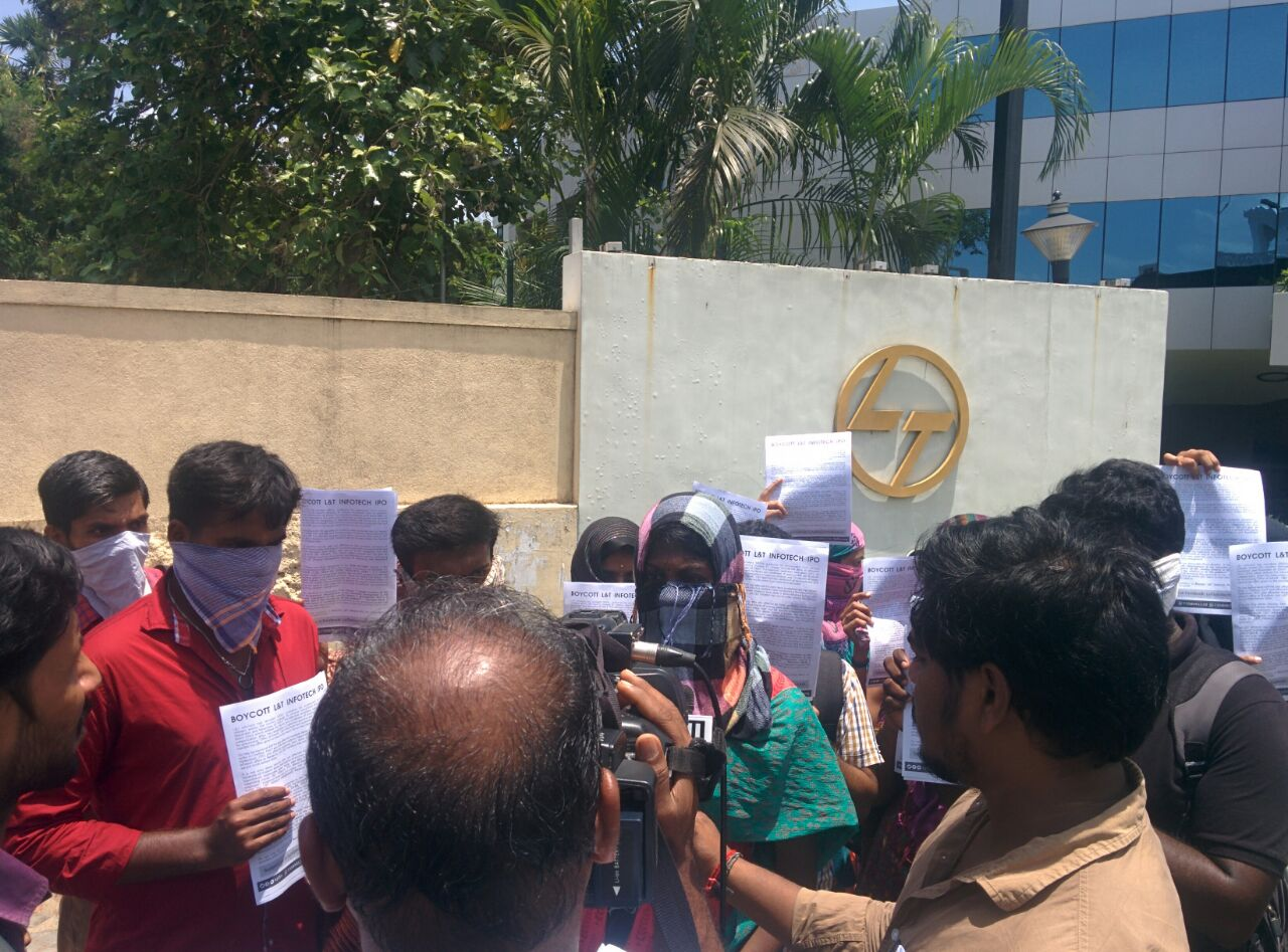 Protest outside L&T 2